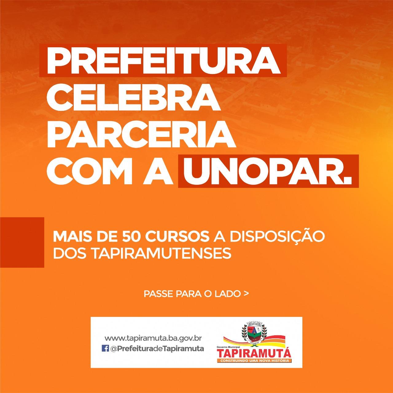 Prefeitura de Tapiramutá celebra parceria com a faculdade UNOPAR