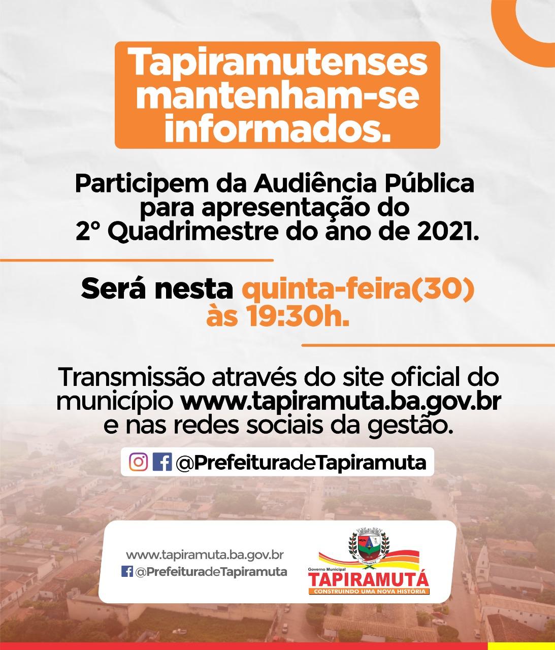 Prefeitura realizará Audiência Pública para apresentação do 2° Quadrimestre do ano de 2021
